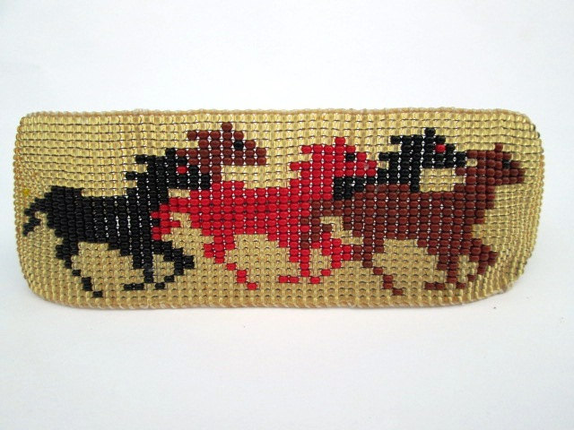 Wild Running Horses Black Red Brown On Gold Horse Beaded Bracelet Cuff
