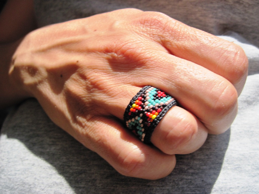 art huichol in beaded rings handmade made romea jewelry mexico accessories pin
